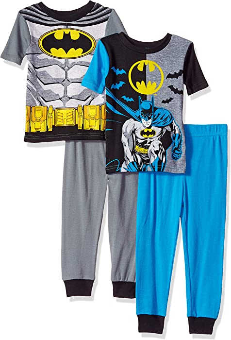 395016189e0a Amazon.com  DC Comics Boys  Little  Batman 4-Piece Cotton Pajama Set ...