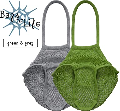Bags of Life - Bolsa de malla de algodón orgánico reutilizable, color gris y verde, asas largas, 100% biodegradable, embalaje libre de plástico: Amazon.es: Ropa y accesorios