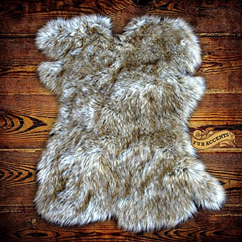 Gray Wolf Faux Fur Pelt Rug – Sheepskin Shag – 5 x6 Shaggy Throw – Accent Carpet -Kids Bedroom – Play Rug – Nursery – Crib Mat – Design by Fur Accents 60 x70