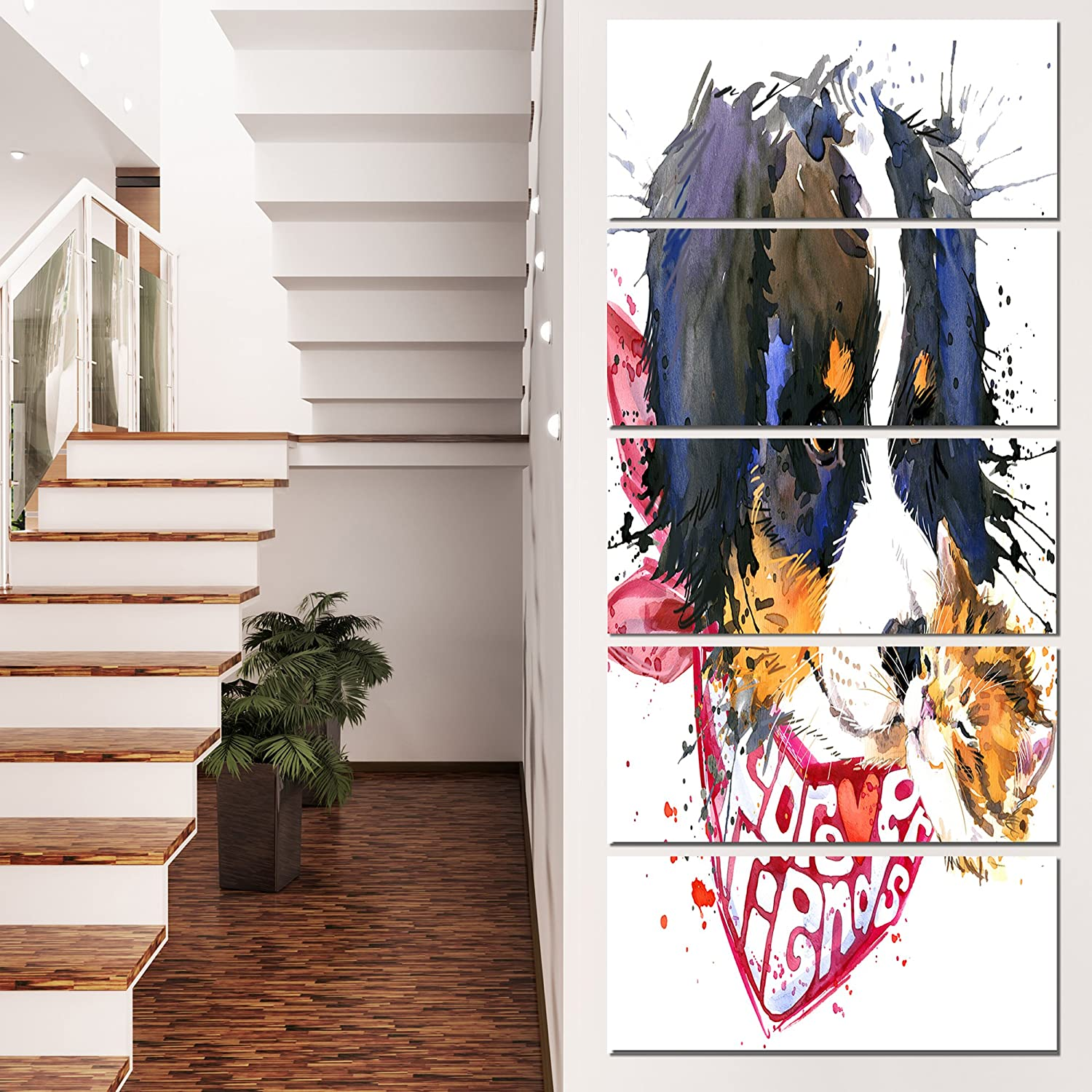 Designart Dog and Cat Friends Forever Large Animal Metal Wall Art 28x60-5 Equal Panels White