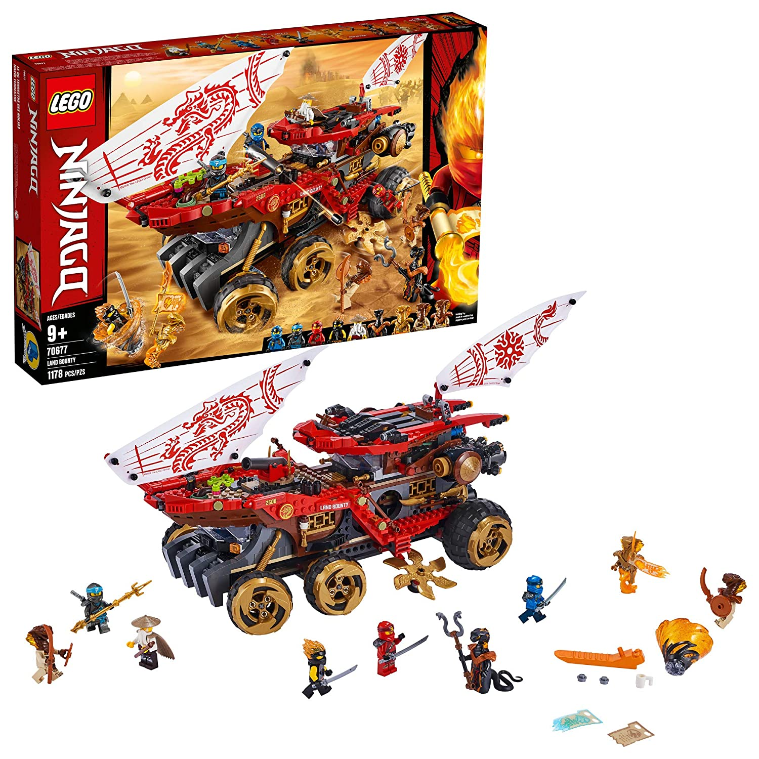 LEGO NINJAGO Land Bounty 70677 Toy Truck Building Set with Ninja Minifigures, Popular Action Toy with Two Toy Vehicles and Toy Ninja Weapons for Creative Play(1,178 Pieces)