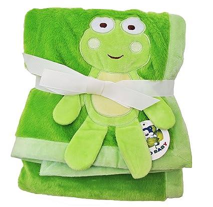 Green Plush 2 Ply Pv Baby Boy Blanket 3d Frog Design 30 X40