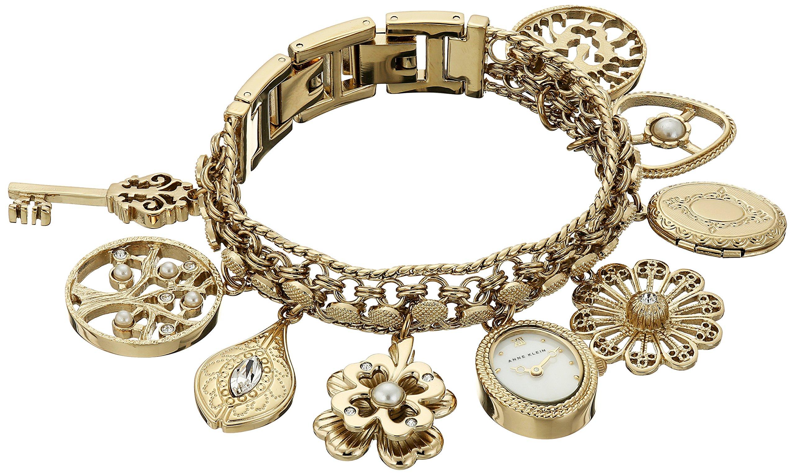 Anne Klein Women's  10-8096CHRM Swarovski Crystal Accented Gold-Tone Charm Bracelet Watch by Anne Klein