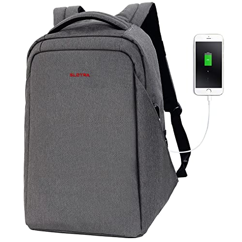 SLOTRA Laptop Backpack with USB Charging Port Anti theft 15.6 Inch Water Repellent Business Travel School Bag (Dark Grey)