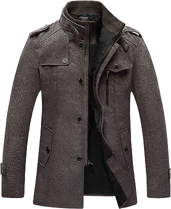 Wantdo Mens Casual Warm Coat Winter Wool Peacoat Windproof Outerwear Jacket Full Zip Jacket