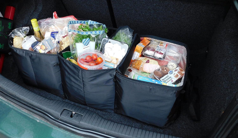schwarz Serie Orga-Car ZOLLNER/® Kofferraum Organizer // Kofferraumtasche // Auto Faltbox // Kofferraumbox // Einkaufstasche faltbar // Autotasche mit K/ühlfach und 2 Tragegriffen 30x31x86 cm ca