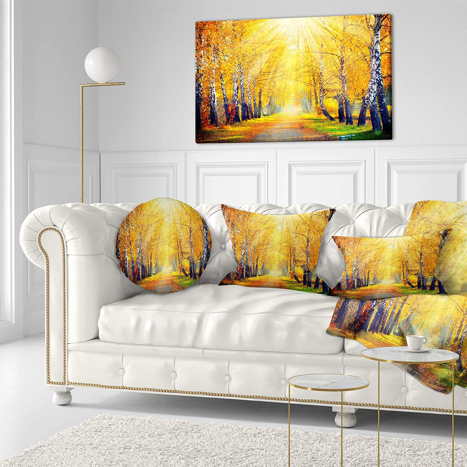 Designart Cu14259 12 20 Yellow Autumn Trees In Sunray Landscape Printed Lumbar Cushion Cover For Living