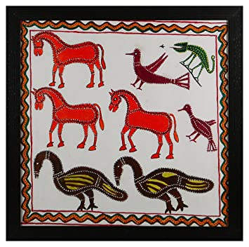 Rajubhai Pithora Canvas Different Animals Panting (99 cm x 4 cm x 66 cm)