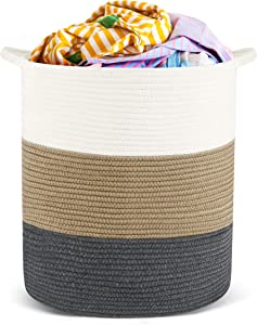 HYNAWIN Cotton Rope Storage Basket Laundry Basket, Tall Decorative Woven Basket for Laundry, 18'' x 16'' (Off-White/Brown/Gray)