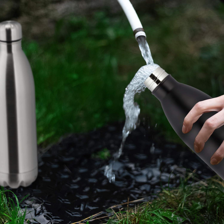 Relaxdays Thermo Trinkflasche, doppelwandige Vakuum Isolierflasche, 1 Liter, unterwegs, Edelstahl, auslaufsicher, silber Silber