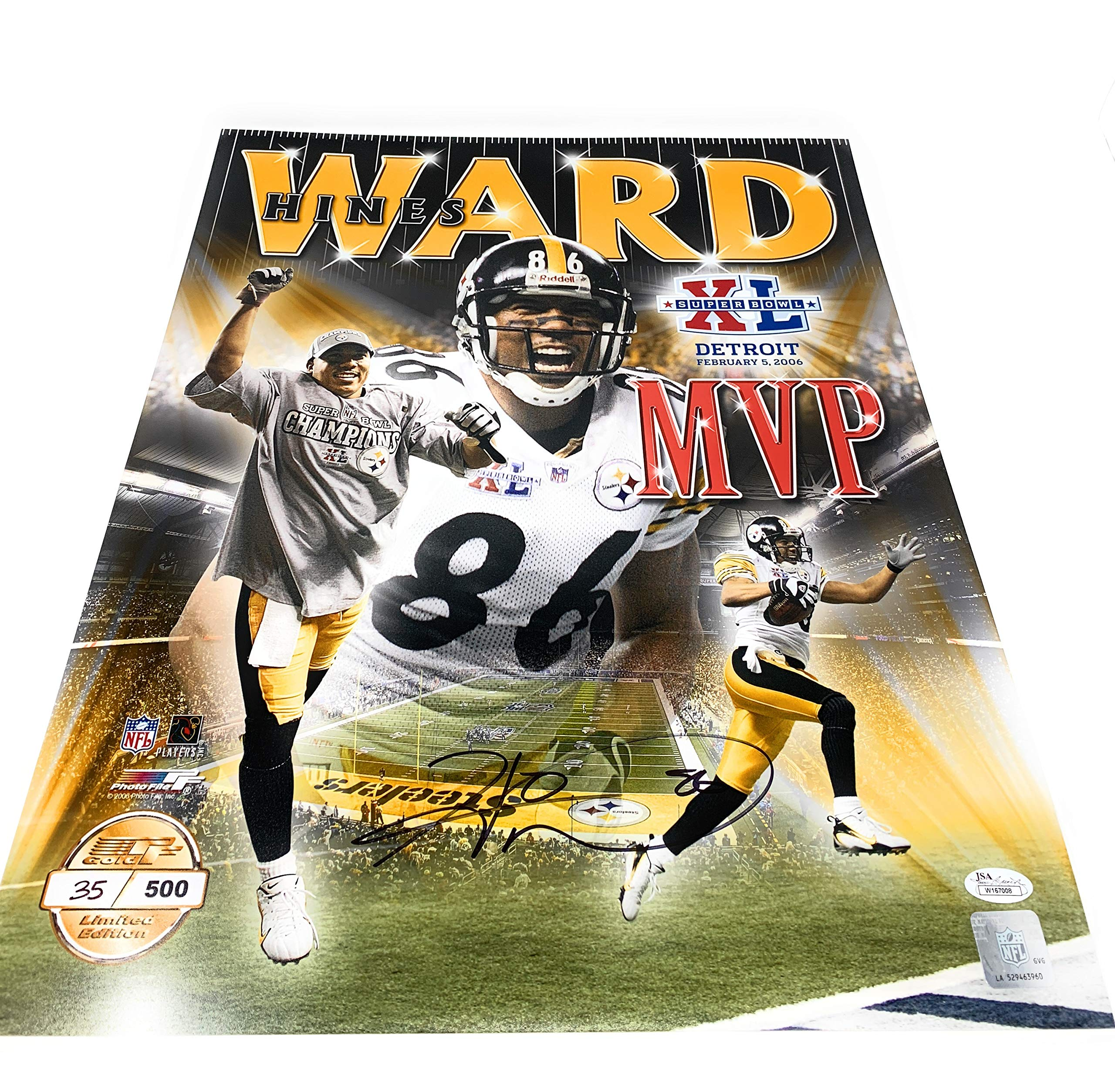 Hines Ward Pittsburgh Steelers Signed Autograph 16x20 Photo Photograph JSA WItnessed Certified