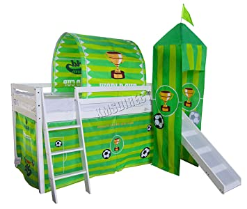 Foxhunter Childrens Wooden Mid Sleeper Cabin Bunk Bed Kids Tent