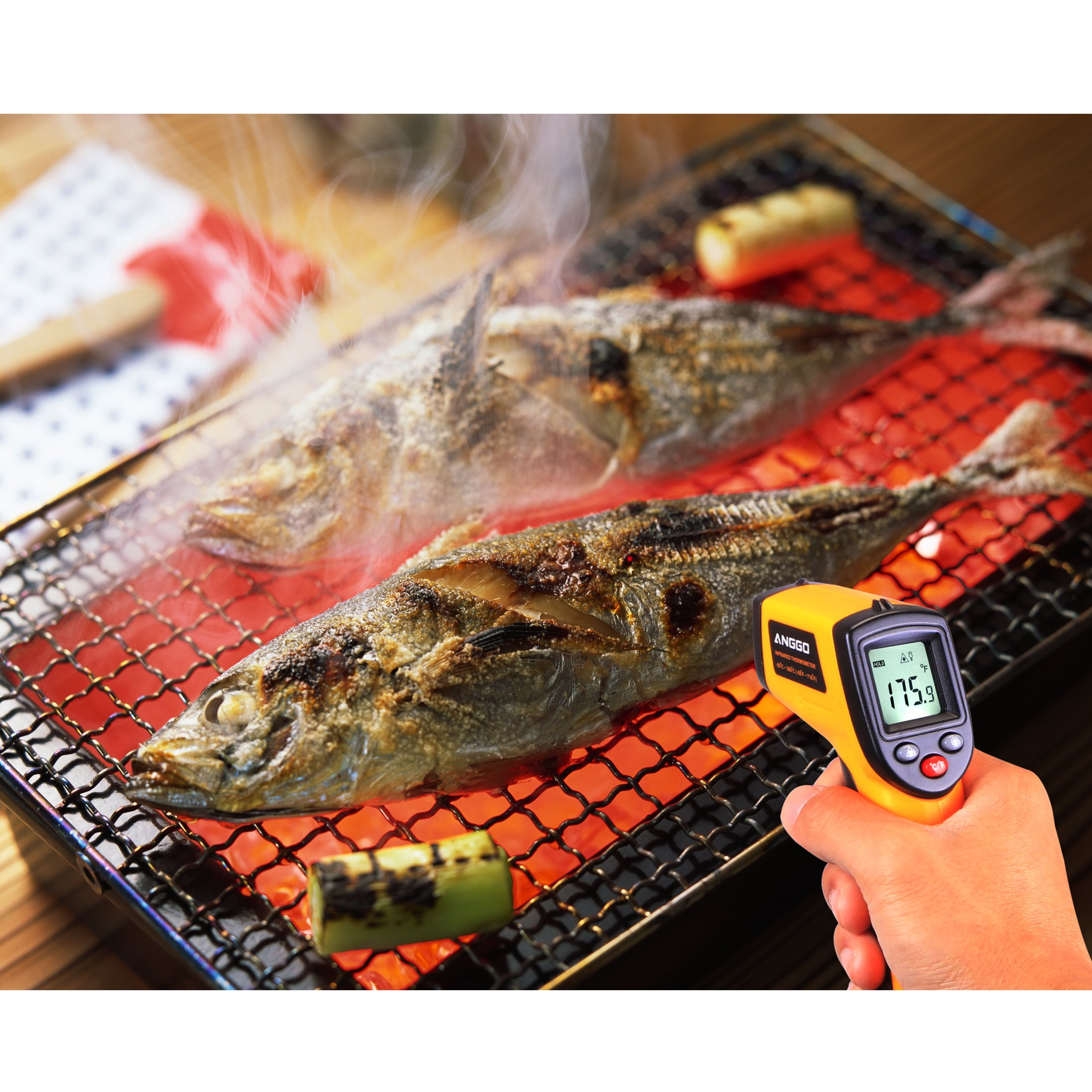 ANGGO IR Infrared Non-contact Digital Temperature Gun Thermometer with Laser for Precisely Aiming, Bright LCD Display with LED Backlight (-58 °F to 716°F) by ANGGO (Image #3)