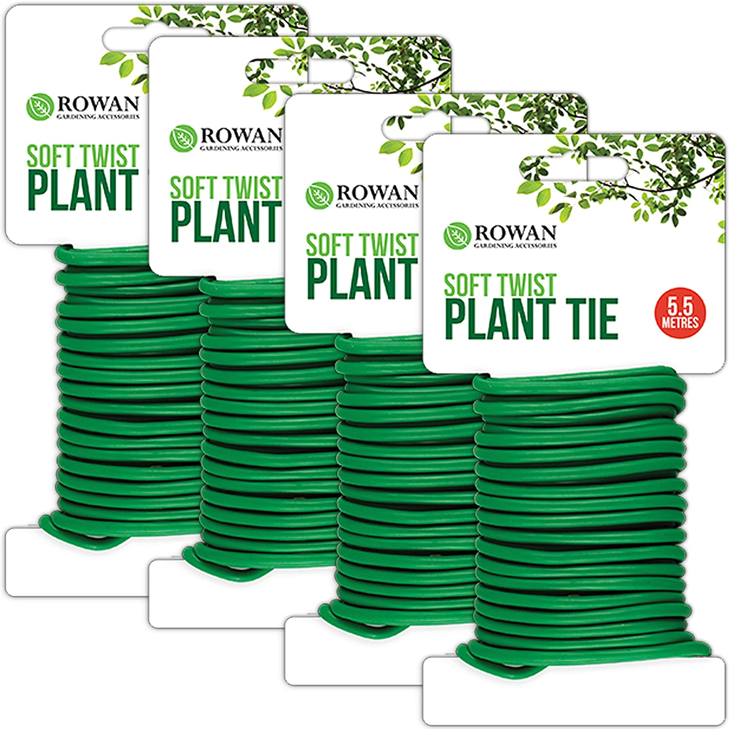 4x Rolls of 5.5m Soft Plant Support Tie Reusable Weatherproof Long Thick Garden Twist Wire | Reduces Damage To Plants & Stems White Hinge