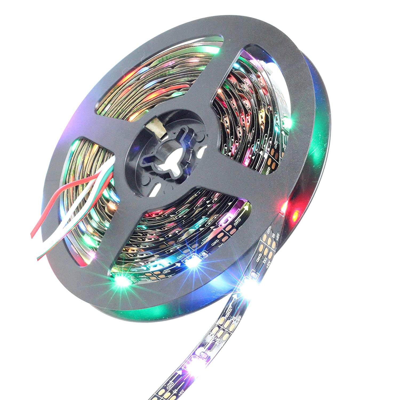 INVOLT 16.4ft WS2812B Individually Addressable LED Strip Light 5050 RGB SMD 150 Pixels Dream Color Non Waterproof IP20 Black PCB 5V DC