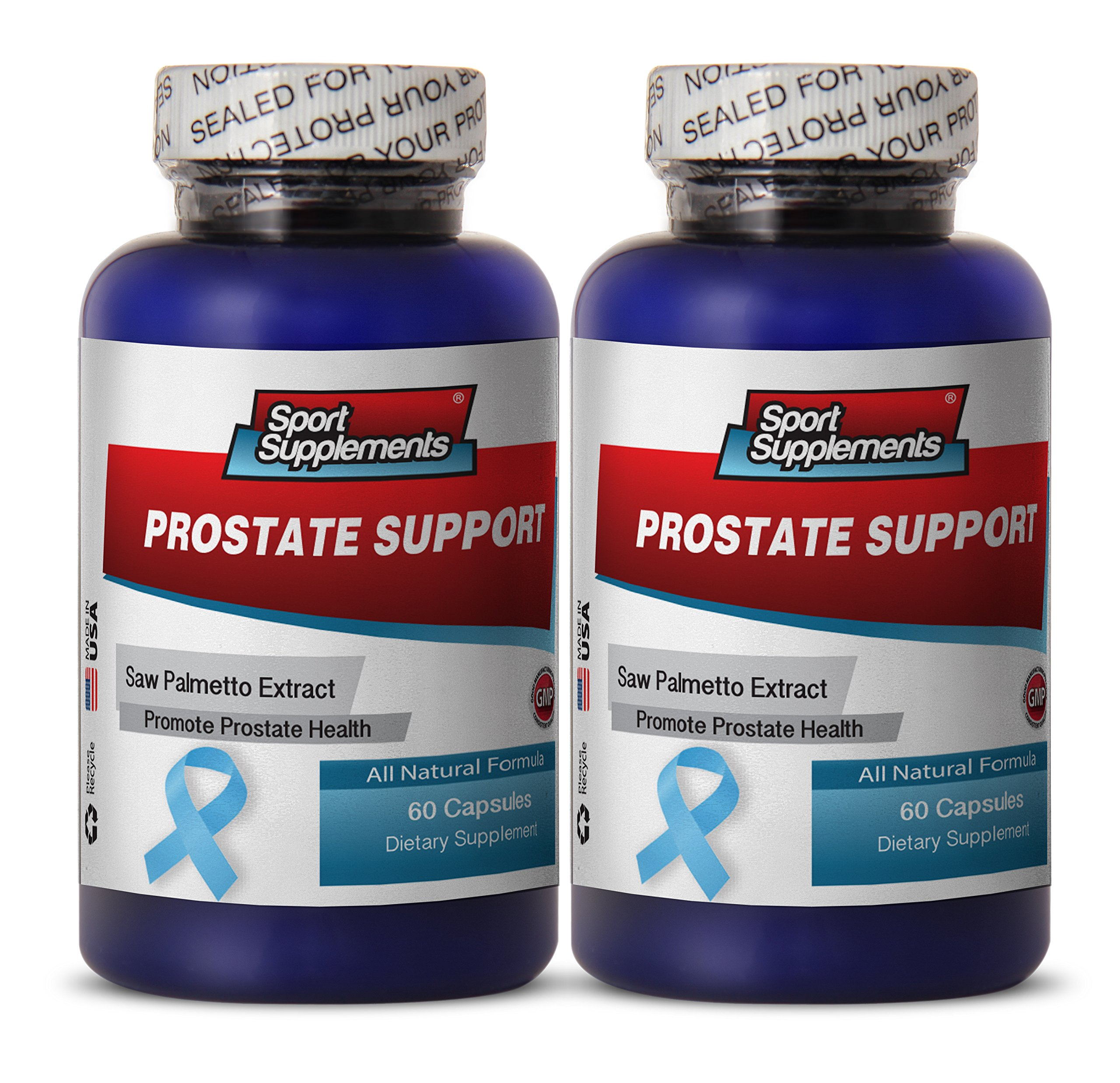 Prostate vitamins - PROSTATE SUPPORT ALL NATURAL FORMULA - Saw palmetto herbs - 2 Bottles 120 Capsules by Sport Supplements