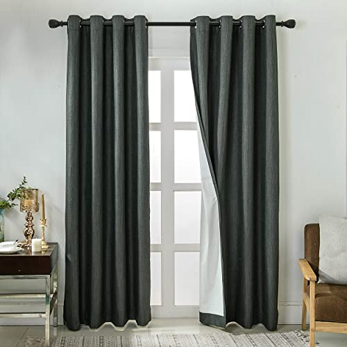 WINDOWFIT Textured 100 Blackout Curtains Room Darkening Sun Blocking Curtain Panels for Bedroom 2 Panels Charcoal, 52 x 63