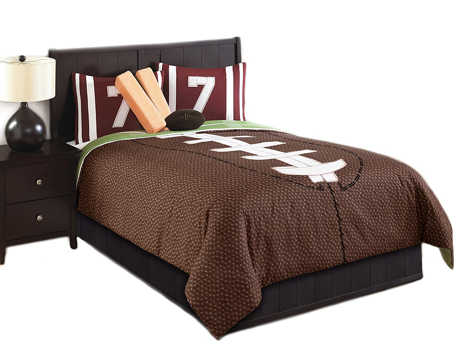 Nfl bedding for boys - Amazon Com Hallmart Kids 43667 5 Piece Touchdown Comforter Set Twin Brown Green Home Kitchen