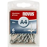Novus blinde klinknagels 6 mm aluminium, 30 klinknagels, Ø 4 mm, 3,5-5,0 mm klemlengte, voor bevestiging van…