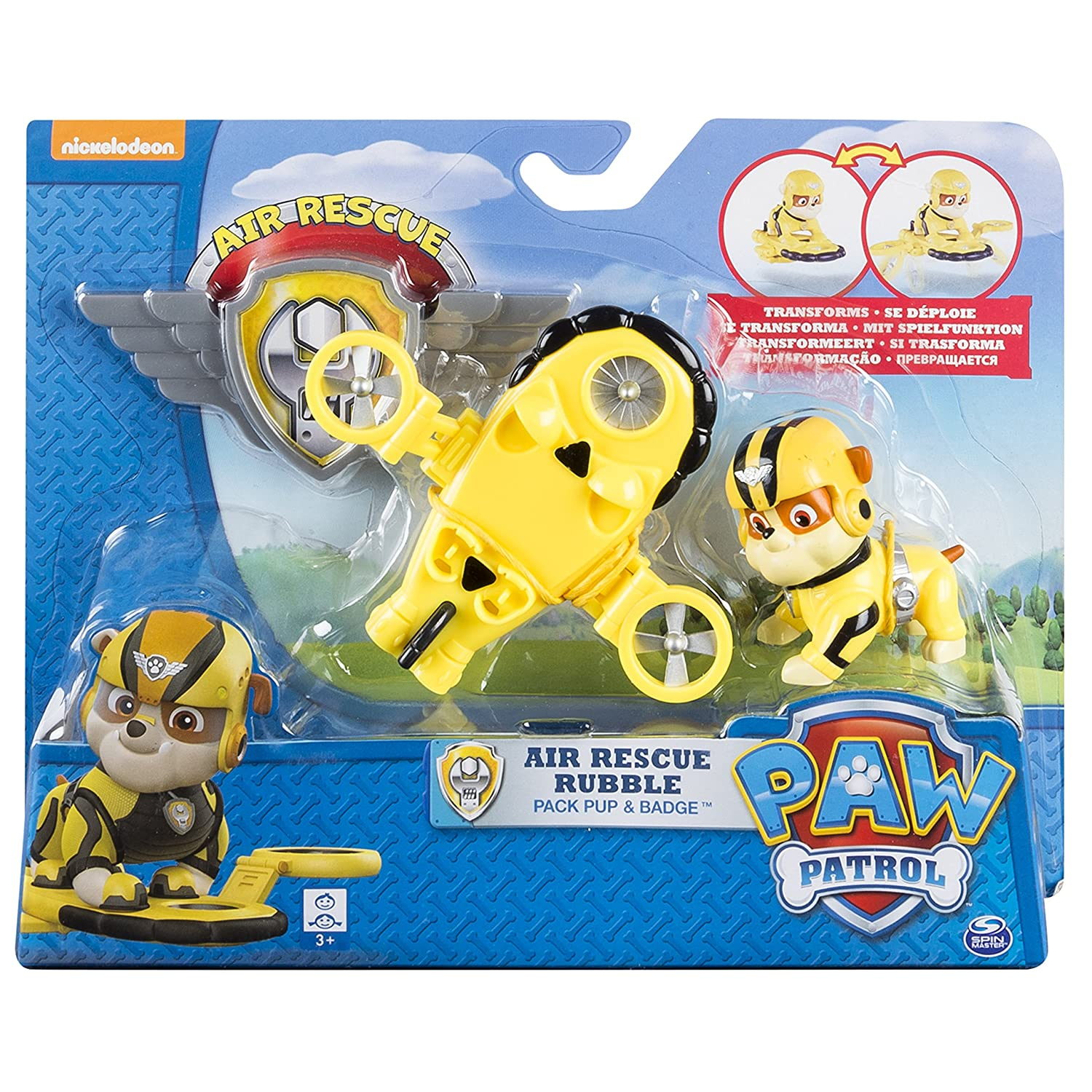 Paw Patrol Air Rescue Rubble Pup Pack Badge Figures