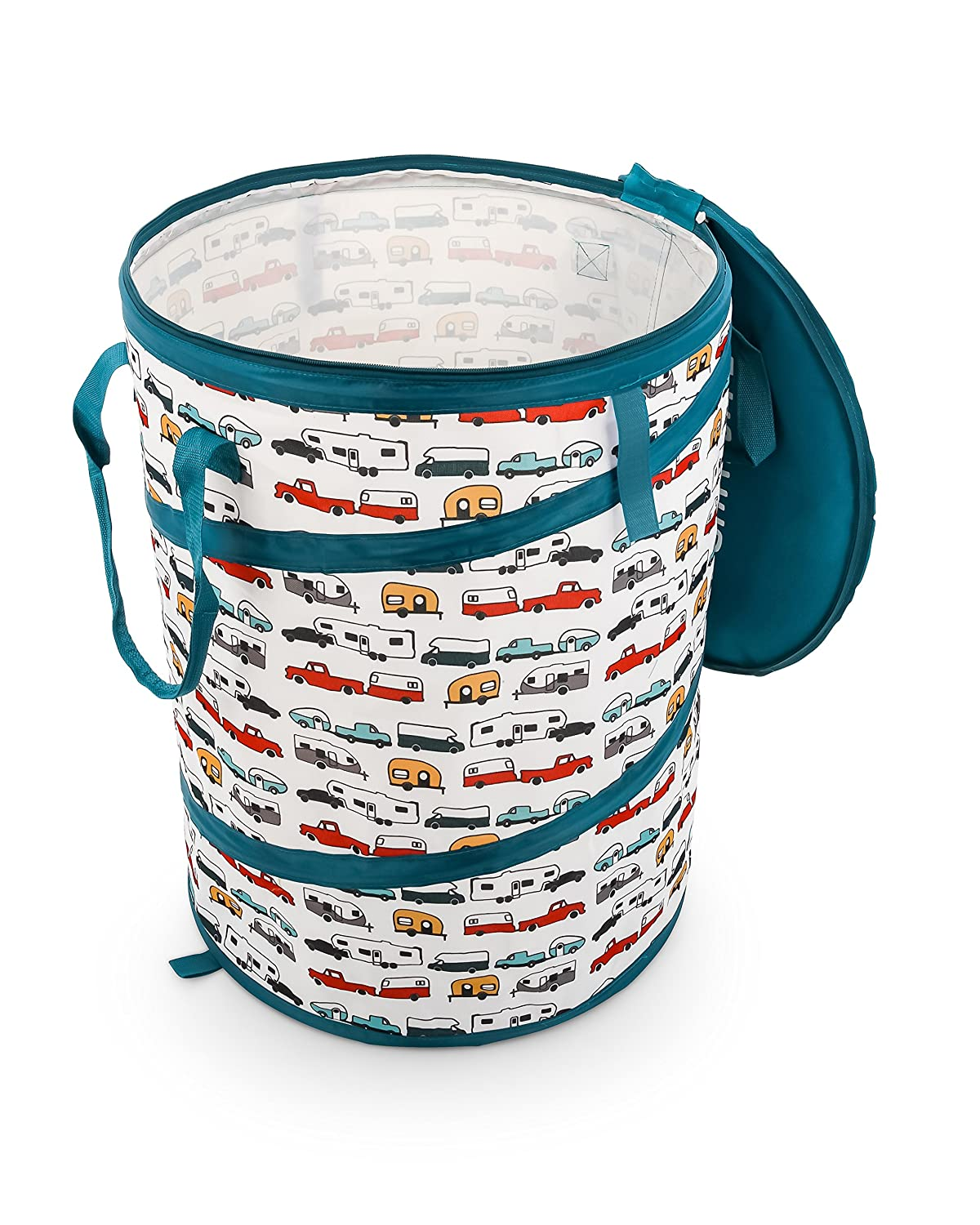 "Camco Tear Resistant Pop Up Utility Container, Can Be Used as a Collapsible Storage or Toy Bin 18"" x 24"" Life Is Better at The Campsite RV Print Design - (42986)"