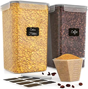 Food Storage Containers with Lids Airtight - Large 2 x 6.5L (220 Oz) Sugar Rice Cereal Flour Container for Kitchen Organizing - BPA-Free Dry Food Storage Containers for Pantry - Plastic Canisters Set