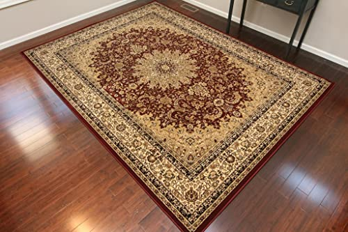 Dunes Burgundy Traditional Isfahan High Density 1 Inch Thick Wool 1.5 Million Point Persian Area Rugs 4 2 x 5 2