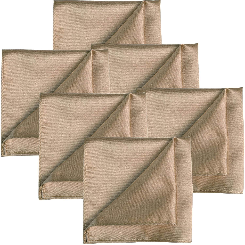 KissTies 6PCS Satin Pocket Square Wedding Party Solid Handkerchief + Gift Box KT1083PS