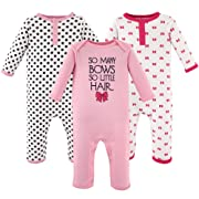 Hudson Baby Baby Cotton Union Suit, 3 Pack, So Many Bows, 3 Months