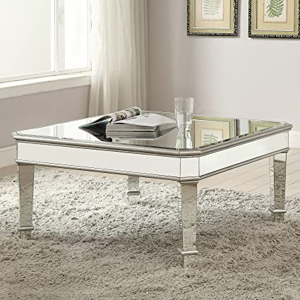 Exceptionnel 1PerfectChoice Contemporary Square Silver Mirrored Coffee Table