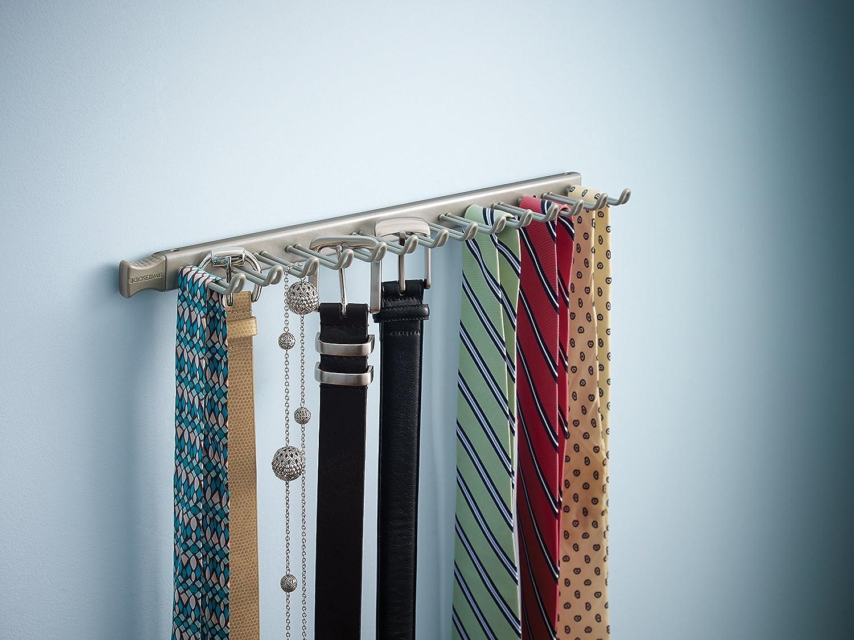 Nickel ClosetMaid 38053 14-Hook Tie /& Belt Rack