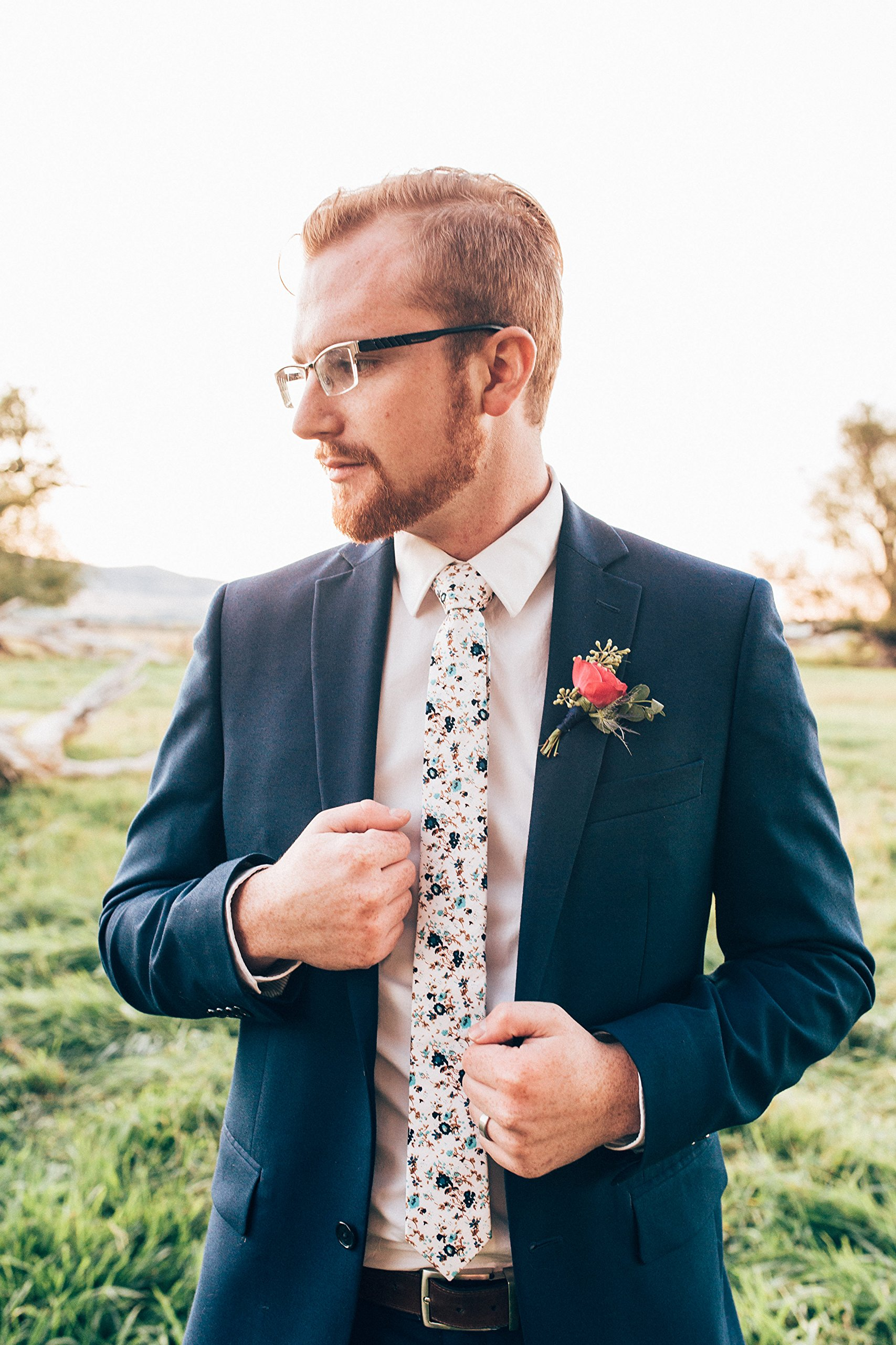 DAZI Men's Skinny Tie Floral Print Cotton Necktie, Great for Weddings, Groom, Groomsmen, Missions, Dances, Gifts. (Blue Bloom) by DAZI (Image #5)