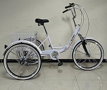 Triciclo para adultos, marco plegable, ruedas de 24