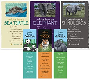Advice from Nature Bookmark & Art Card Endangered Wild Animals Set- 3 Bookmarks: Tiger, Panda, Gorilla - Art Cards: Rhino, Sea Turtle, Elephant by Your True Nature
