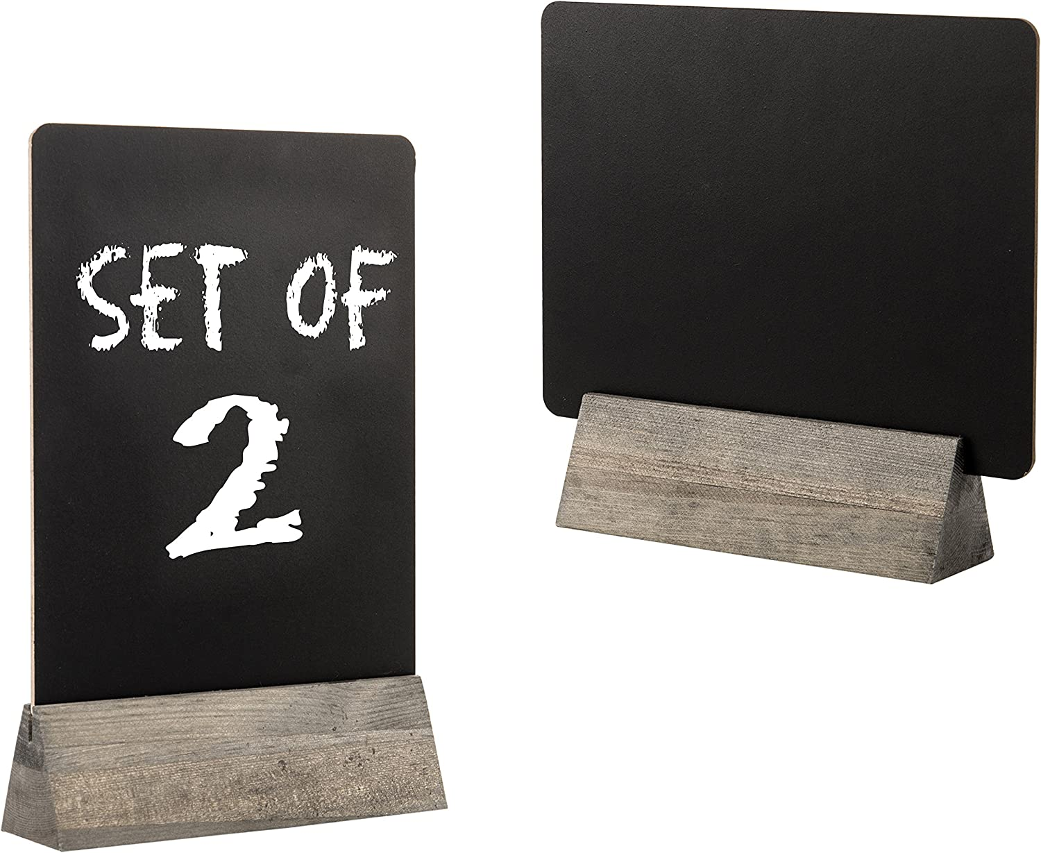 Set of 2 Tabletop Double Sided Chalkboard Display Sign/Placeholder with Wooden Base Stand, Gray: Office Products