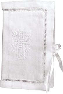 Stephan Baby Keepsake Bible with Embroidered Cover and Ribbon-Tie Closure, White 482106