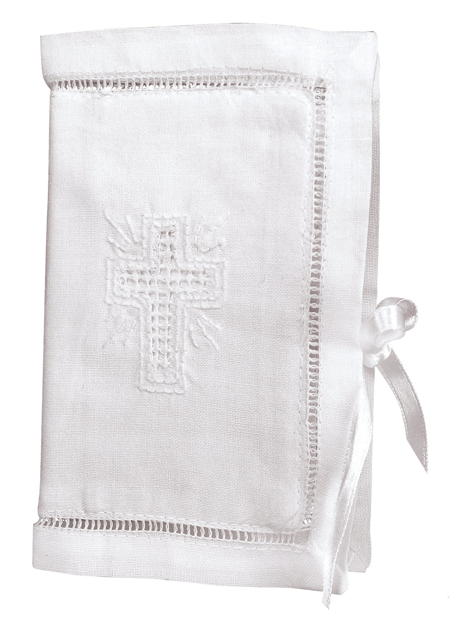 Stephan Baby Keepsake Bible with Embroidered Cover and Ribbon-Tie Closure, White by Stephan Baby (Image #1)