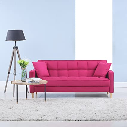 Amazon.com: Modern Linen Fabric Tufted Small Space Living Room Sofa ...