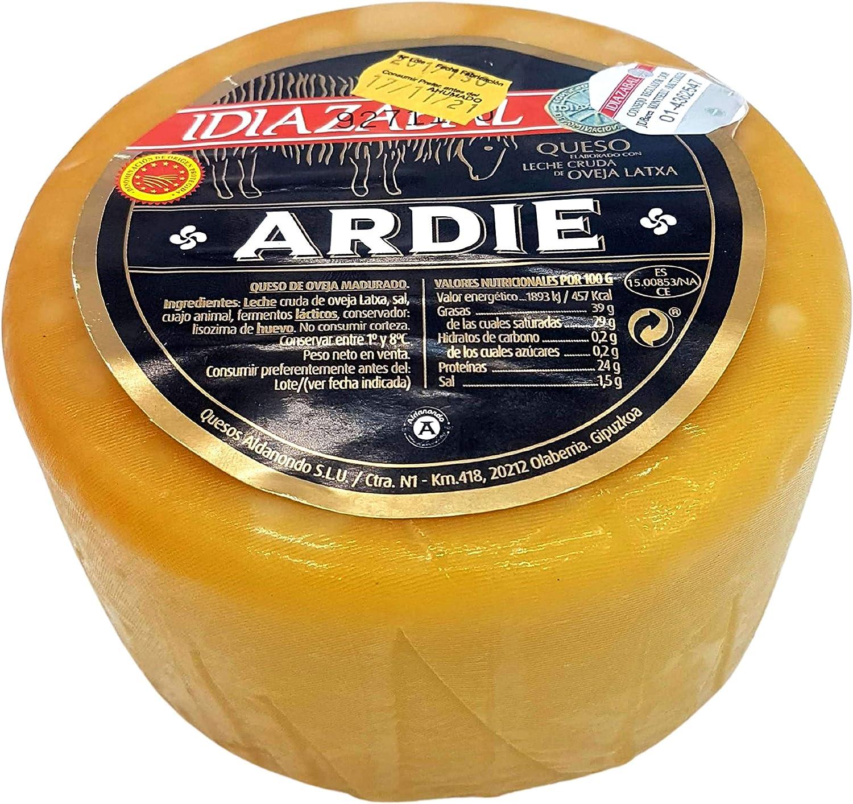 Queso Idiazabal Ahumado Aldanondo Ardie - Elaborado con Leche Cruda de Oveja Latxa - Peso Aproximado 1000 gramos - ideal para tapa, ración, ensalada, ...