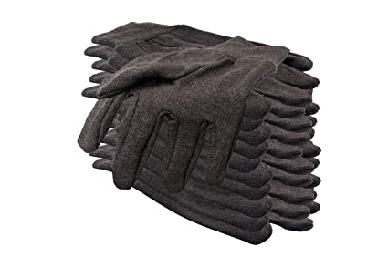"""593e18ddf0b9d 12 Pack Brown Jersey Gloves for Men 10"""". Reusable Washable Glove with  Elastic Knit"""