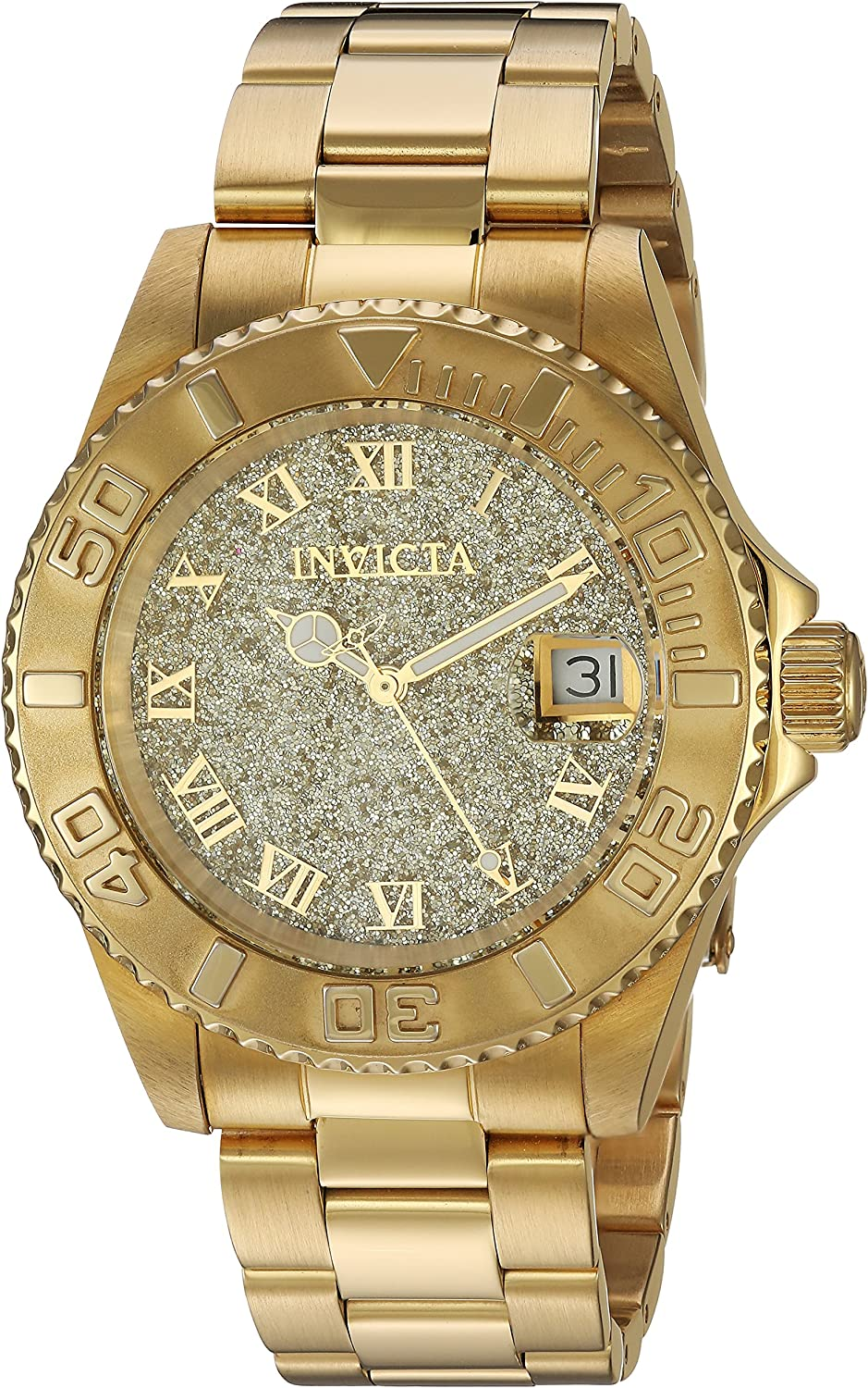 Invicta Women s 12508 Pro Diver Gold Tone Dial 18k Gold Ion-Plated Stainless Steel Watch