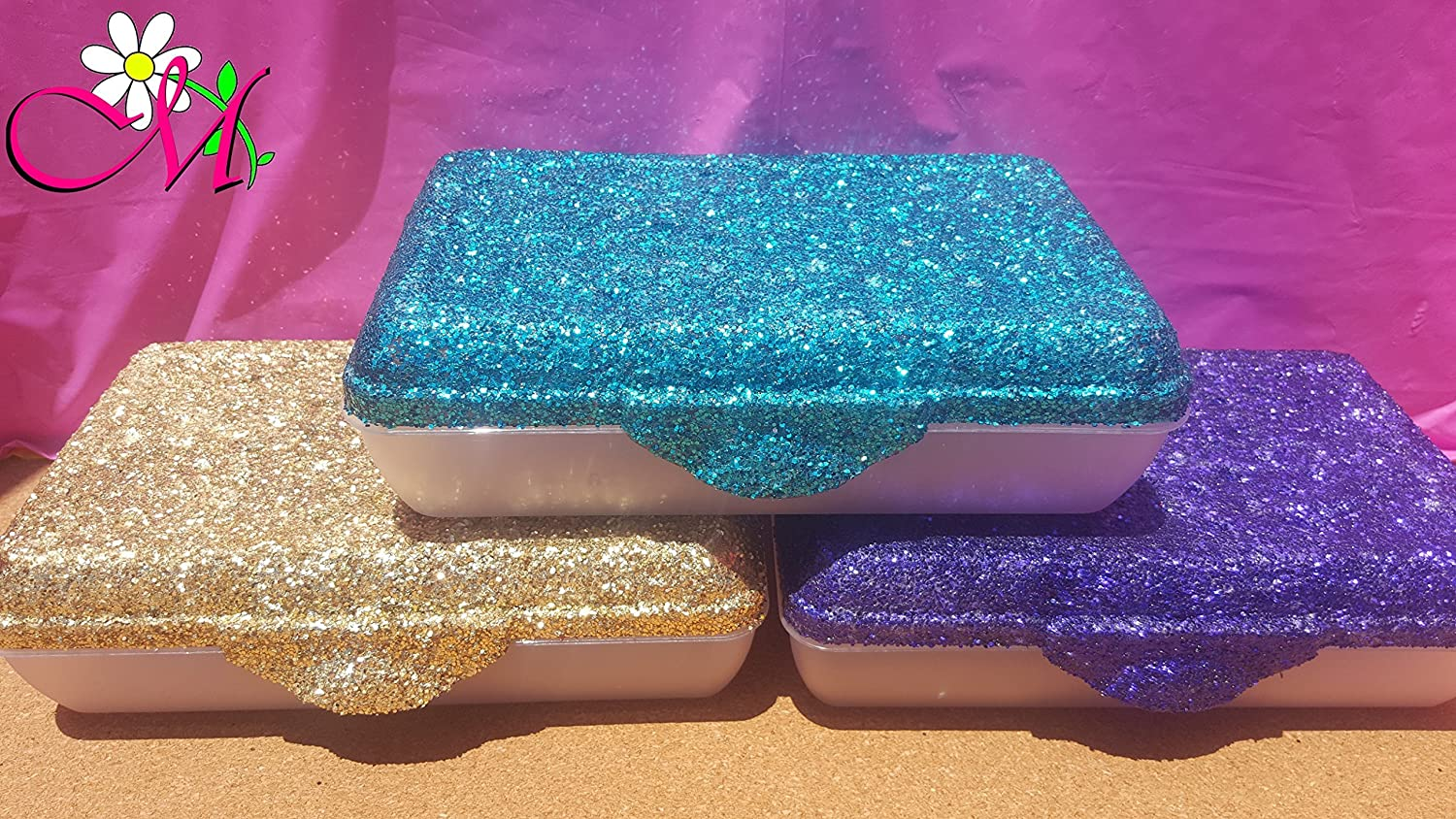 Set of 1, Glitter Pencil Box Your Choice of Color Plastic