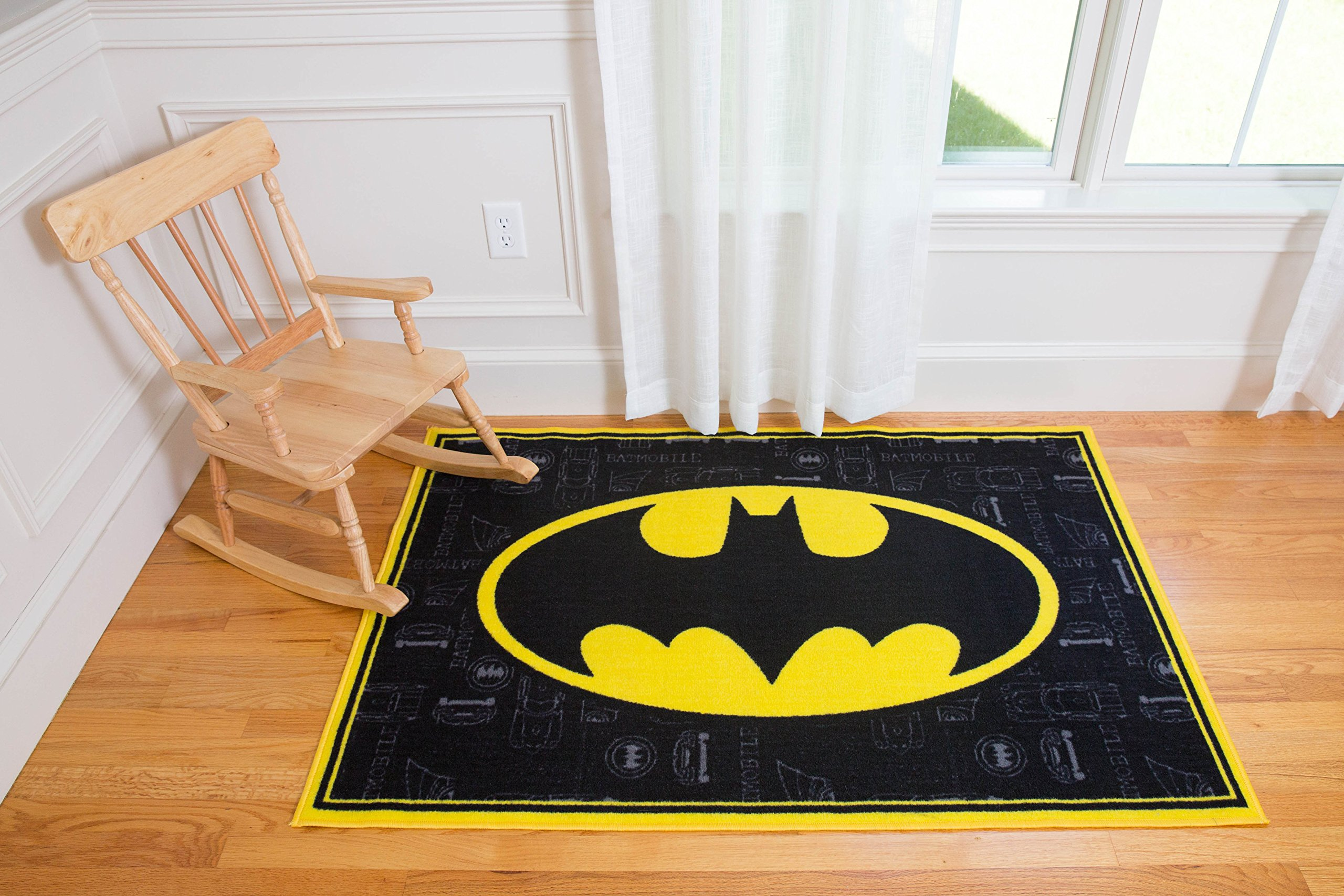 Play Rug, Wildkin Children's 39 x 58 Inch Rug, Durable, Vibrant Colors That Will Last, Perfect for Nurseries, Playrooms, and Classrooms, Ages 3+ - Batman