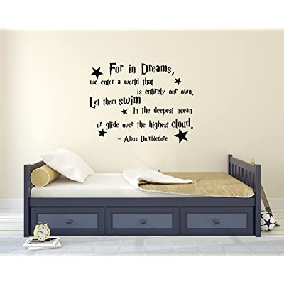 Decalzone Inc for in Dreams We Enter A World That is Entirely Our Own Albus Dumbledore Quote Wall Decal Harry Potter Vinyl Wall Decal Stickers Nursery Kids Baby Children Decor: Kitchen & Dining