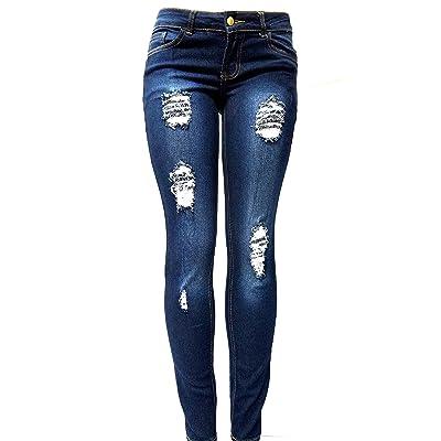 JEANS FOR LOVE JK41 Juniors & Plus Size Women's Blue Denim Jeans Skinny Ripped Distressed Pants