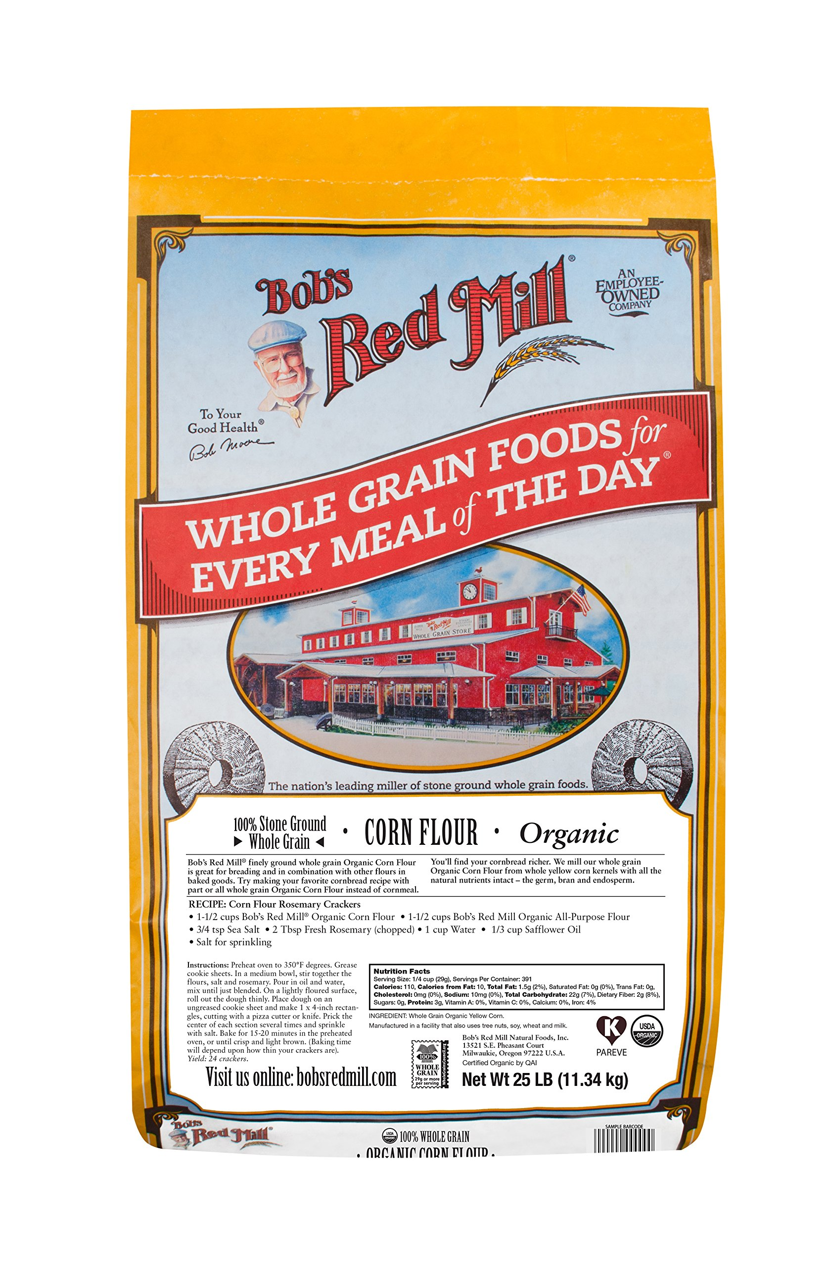 Bob's Red Mill Organic Corn Flour, 25 Pound