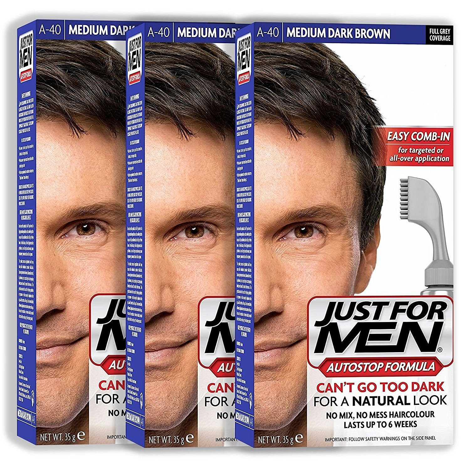 3 x Just For Men Autostop Hair Colour Auto Stop - Choose Your Shade-Medium Dark Brown A40 by Just for Men