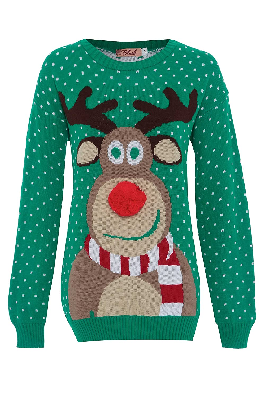 FVUK Big Girls Men 3D Pom Pom Rudolph Reindeer Xmas Jumper Sweater