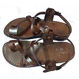 Brown Leather Size US Men s 10 Women s 12 EU44 Greek Roman Jesus Biblical  Sandals Style 506 84622b832