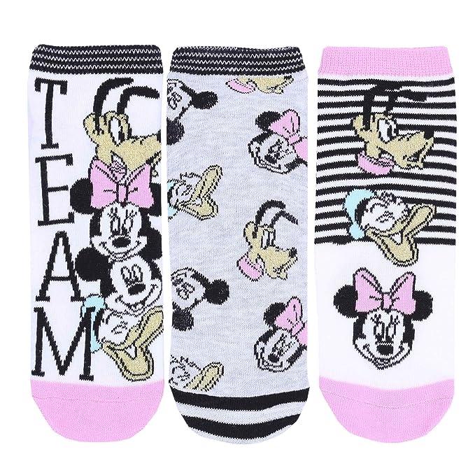 -:- Minnie Mouse -:- Disney -:- 3x calcetines color blanco-rosa: Amazon.es: Ropa y accesorios